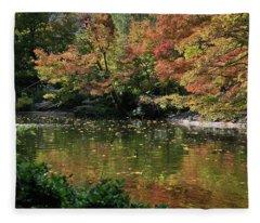Fall At The Japanese Garden Fleece Blanket