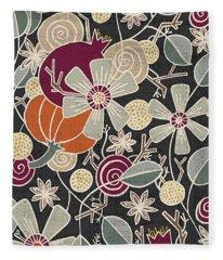 Fall Botanical Art Black Background Fleece Blanket