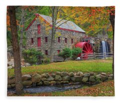 Fall Foliage At The Grist Mill Fleece Blanket