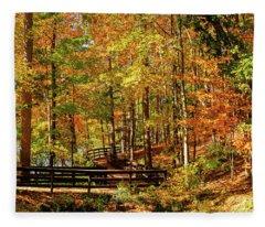Fall Hike At Mirror Lake Fleece Blanket