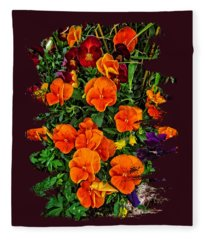 Fall Pansies Fleece Blanket