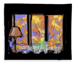 Fall Windows Fleece Blanket