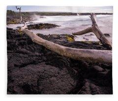 Fallen Tree At Punalu'u Beach Fleece Blanket
