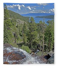 Fleece Blanket featuring the photograph Falls Above Emerald Cove by Lynda Lehmann