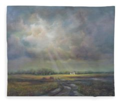 Farm In Spring Fleece Blanket