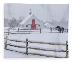 Farm In The Snow Fleece Blanket