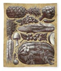 Farmer's Market - Sepia Fleece Blanket