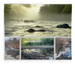Farmington River Collage Fleece Blanket