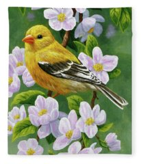 Female American Goldfinch And Apple Blossoms Fleece Blanket