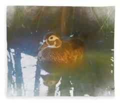 Female Wood Duck. Fleece Blanket