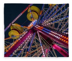 Ferris Wheel At Night Fleece Blanket