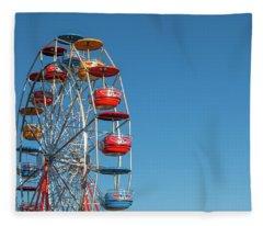 Ferris Wheel On Blue Fleece Blanket
