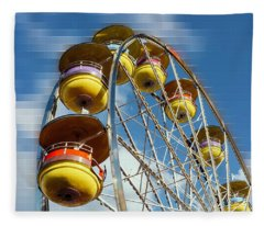 Ferris Wheel On Mosaic Blurred Background Fleece Blanket