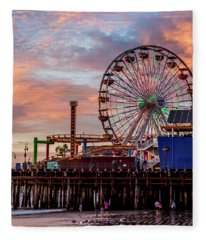Ferris Wheel On The Pier - Square Fleece Blanket
