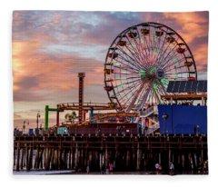 Ferris Wheel On The Pier - Square Fleece Blanket