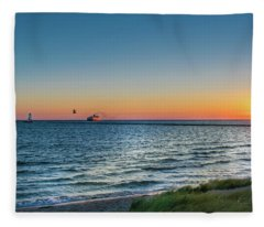 Ferry Going Into Sunset Fleece Blanket