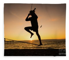 Fiddle Playing At Sunset In Aberystwyth Fleece Blanket