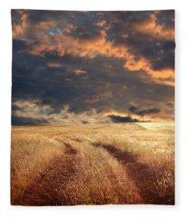 field and stormy sky - Image  Fleece Blanket