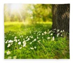 Field Of Daisies Fleece Blanket