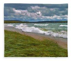 Field Of Green On Lake Superior Fleece Blanket