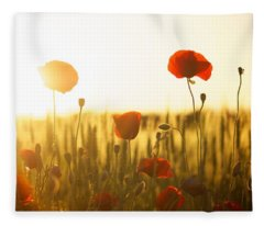 Field Of Poppies At Dawn Fleece Blanket