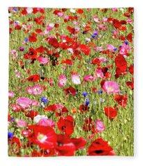 Field Of Red Poppies Fleece Blanket