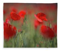 Field Of Wild Red Poppies Fleece Blanket