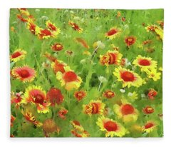 Fields Of Gold - Wildflowers Fleece Blanket