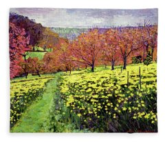 Fields Of Golden Daffodils Fleece Blanket
