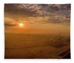 Fields On The Sunset Fleece Blanket