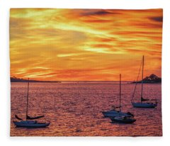 Fiery Sunrise Over Casco Bay Fleece Blanket