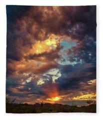 Finger Painted Sunset Fleece Blanket