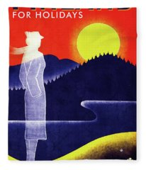 Finnish State Railways - Finland For Holidays - Retro Travel Poster - Vintage Poster Fleece Blanket