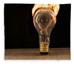 Fire And Flames Ignited Out Of Light Bulb Fleece Blanket