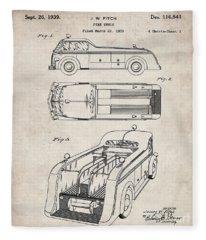 Fire Truck Patent, Fireman Art - Antique Vintage Fleece Blanket