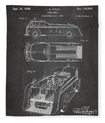 Fire Truck Patent, Fireman Art - Chalkboard Fleece Blanket