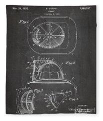 Firemans Helmet Patent, Fire Fighter Art - Chalkboard Fleece Blanket
