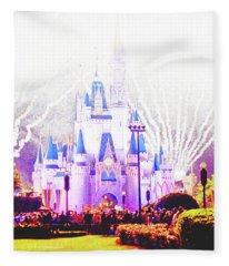 Fireworks, Cinderella's Castle, Magic Kingdom, Walt Disney World Fleece Blanket