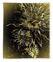 Fireworks In The Cosmos - Gold Fleece Blanket