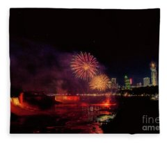 Fireworks Over The Falls. Fleece Blanket