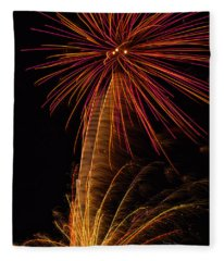 Fireworks Palm Tree Fleece Blanket