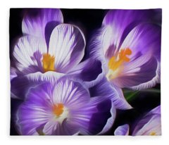 Fleece Blanket featuring the mixed media First Crocuses On The Sunny Side Of The Street by Lynda Lehmann