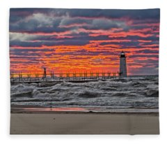 First Day Of Fall Sunset Fleece Blanket