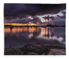 First Light With Heavy Rain Clouds On The Bay Fleece Blanket