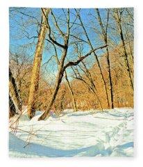 First Tracks In New Snow Fleece Blanket