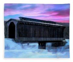Fisher Raiilroad Covered Bridge Wolcott Vermont. Fleece Blanket