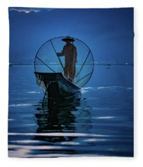 Fisherman At First Light On Inle Lake Fleece Blanket