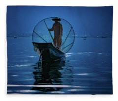 Fisherman At First Light On Inle Lake Fleece Blanket