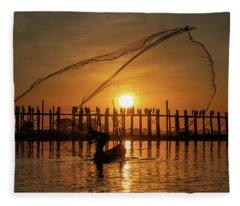 Fisherman On Taungthaman Lake Fleece Blanket