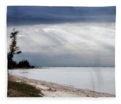 Fishermans Island Michigan Fleece Blanket